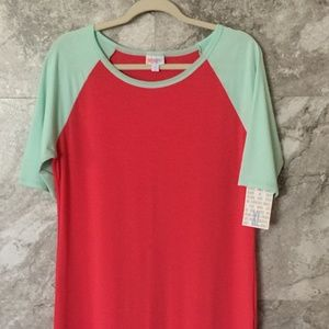 LULAROE XL Julia Dress Pink Coral Light Blue